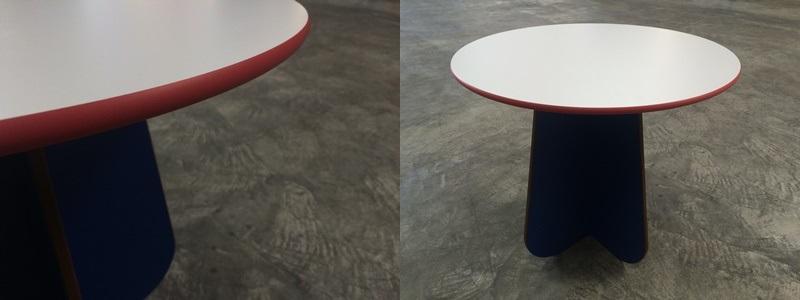 witterungsbeständige Tischplatte rund aus HPL Kompaktplatte roter Kern 13 mm Kanten ballig gefräst