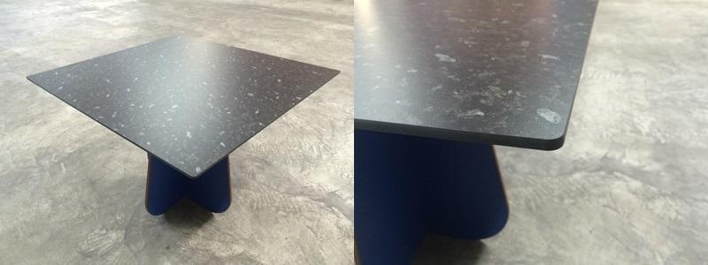 Tischplatte aus HPL Kompaktplatte mit Kanten ballig gefräst und schwarzem Kern