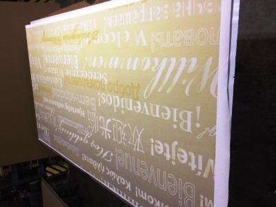 Werbeschild aus dekorativer HPL Kompaktplatte mit Motivdruck und witterungsbeständiger Melaminbeschichtung